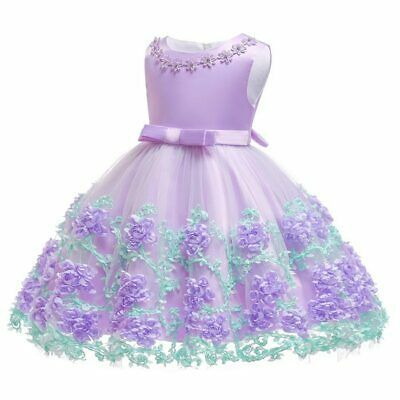 Princess Baby Girl Party Tutu Dress Pageant Wedding Birthday Gown Formal ZG9