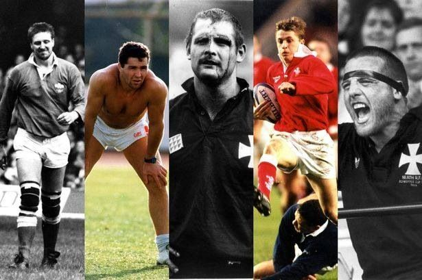 Welsh cult rugby heroes - Kevin Moseley , Mark Perego , Brian Williams , Arwel Thomas & Kevin Phillips