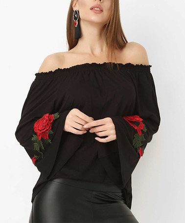 This Black & Red Floral-Accent Bell-Sleeve Off-Shoulder Top is perfect! #zulilyfinds
