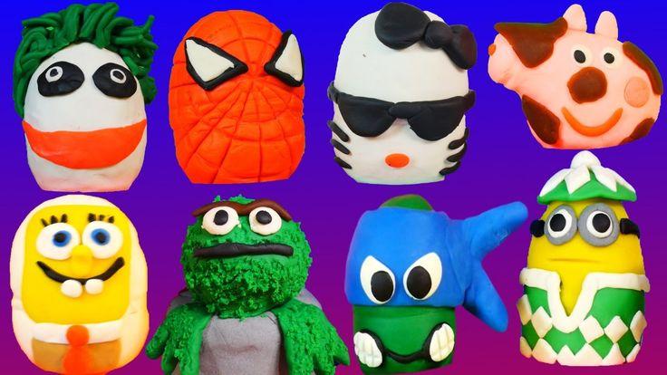 134 PLAY DOH Kinder Surprise Eggs Peppa Spongebob Superheroes Play-Doh M...