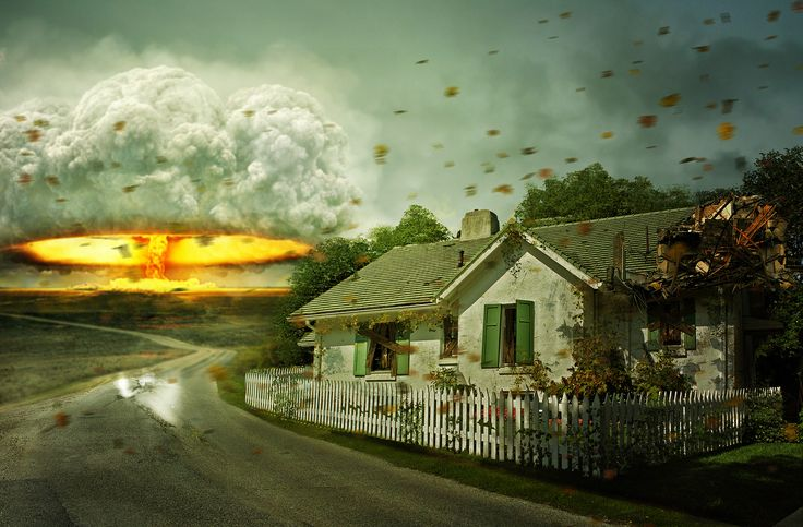 Sci Fi Apocalyptic  Sci Fi Mushroom Cloud Nuclear Explosion Bomb  House Wallpaper
