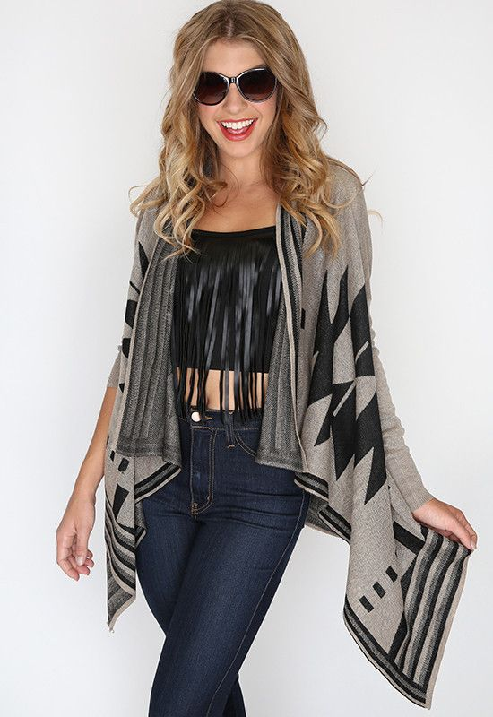 Aztec Cardigan - Taupe, love this color, fall fashion, pretty, priceless, affordable clothing, teen clothing, inspiration for fall outfits