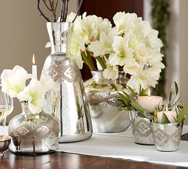 Etched Mercury Glass Vases & Cachepots #potterybarn - Use a bunch of metal to support your creativity for the New Year! arrange a beautiful floral arrangement or candles in the east middle area of your office, the metal element  supports Creativity!