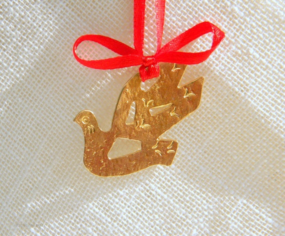 Christmas dove ornament  handmade in  bronze by prosinemi on Etsy, €20.00