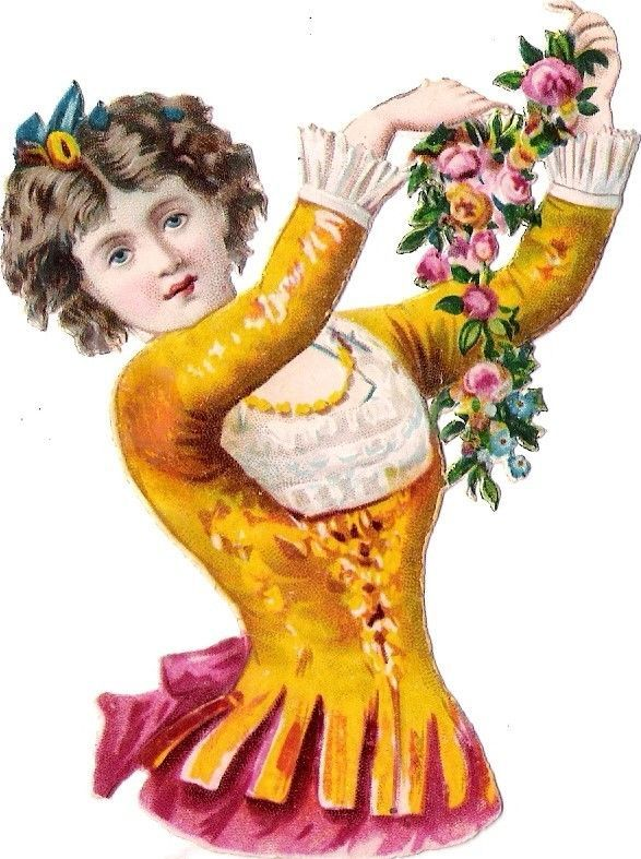 Oblaten Glanzbild scrap die cut chromo Kind child Lady Dame femme Spain national
