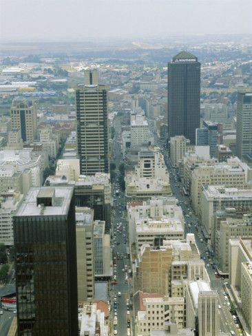 Aerial View of Johannesburg City Centre, South Africa.  For visit, hire a car from : www.carrentaljohannesburgairport.com