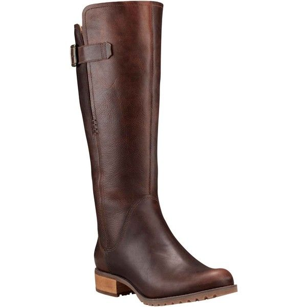 Timberland Women's Banfield Wide Calf Tall Dark Brown Full-Grain... (350 AUD) ❤ liked on Polyvore featuring shoes, boots, brown, knee-high boots, knee high riding boots, waterproof boots, timberland boots, brown riding boots and tall boots