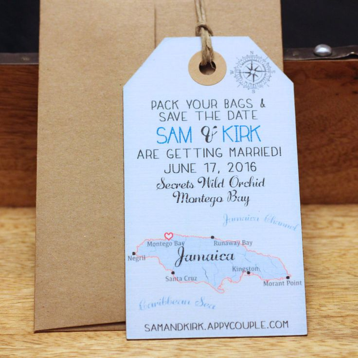 Jamaica Island Save the Date Luggage Tag MJaagnet. Map. Destination Wedding. Wedding invitationstination Wedding.