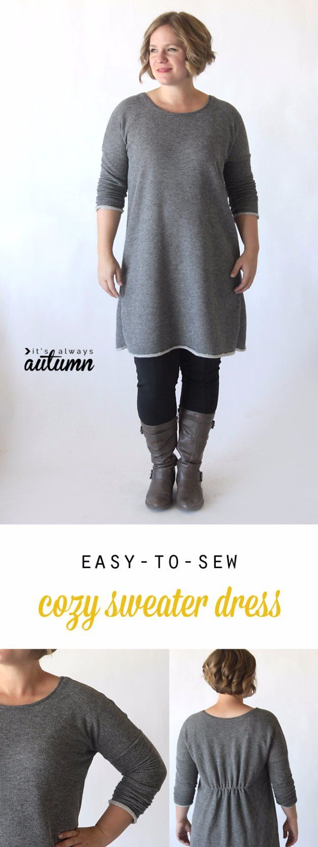 DIY Sewing Projects for Women - Easy to Sew Breezy Tee Long Sleeve Sweater Dress - How to Sew Dresses, Blouses, Pants, Tops and Fashion. Step by Step Tutorials and Instructions  http://diyjoy.com/diy-sewing-projects-for-women