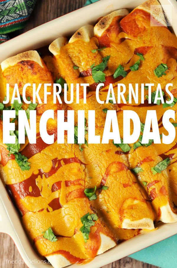 Jackfruit Carnitas Enchiladas are sure to be a hit with your whole family! With a few easy steps and shortcuts, you'll have them on the table in no time! (vegan, soy free, gluten free, nut free)