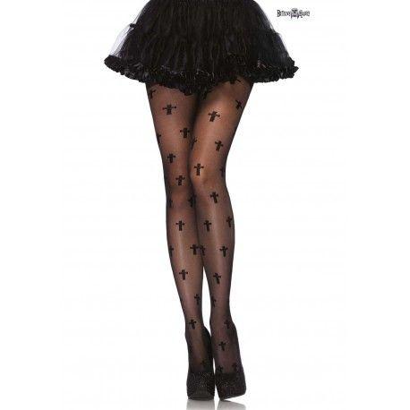 Kvalitní dámské punčocháče s jemnými gothic křížky.