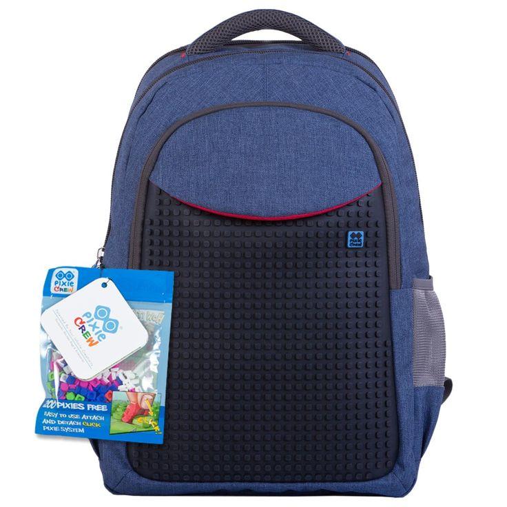 Pixelový studentský batoh modro černý