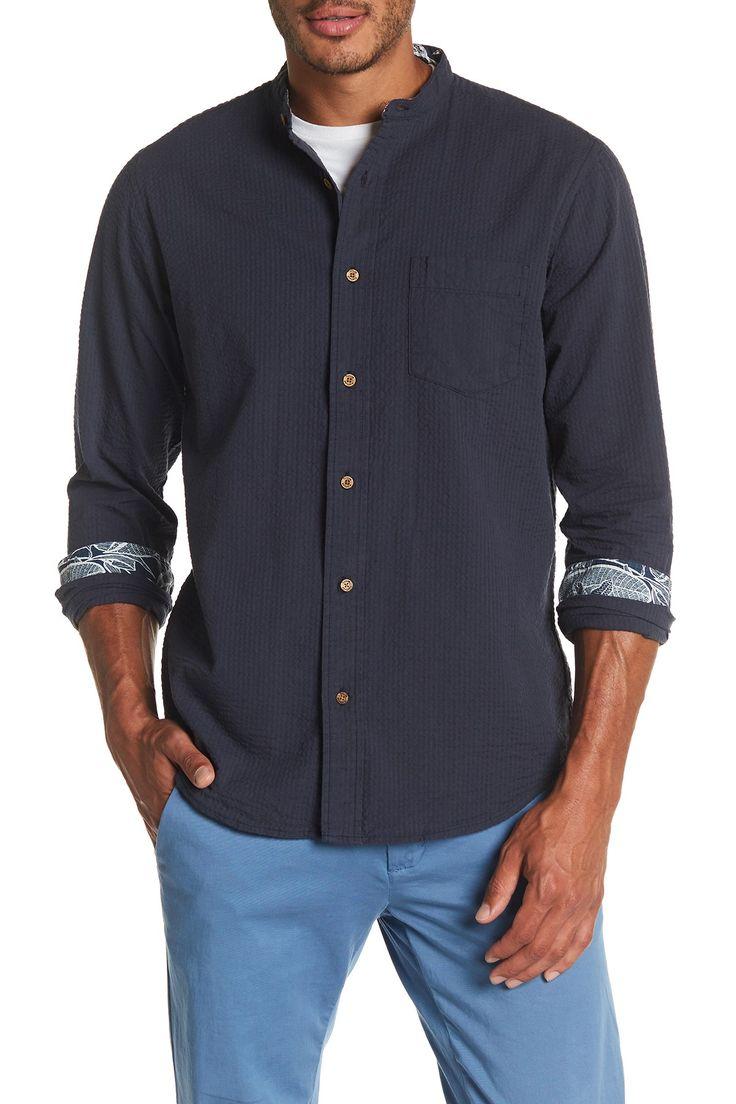 Long Sleeve Banded Collar Shirt