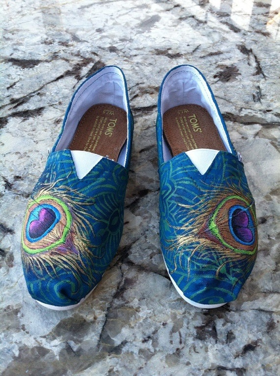 Made to Order Hand Painted TOMS Classic Canvas Shoes Peacock and Paisley