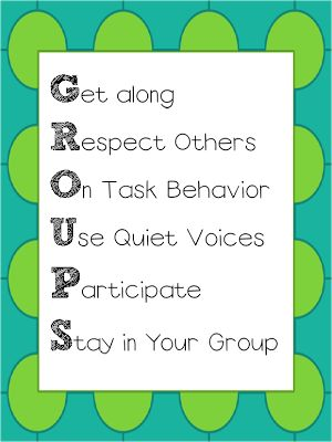 What are your expectations for students when working in pairs or groups? good management needs to be in place FIRST -You can make up your own -- teach this before working in groups! Post in the room and refer to it often!