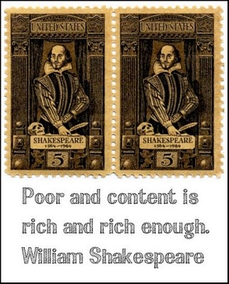 Shakespeare quote on rich and content.