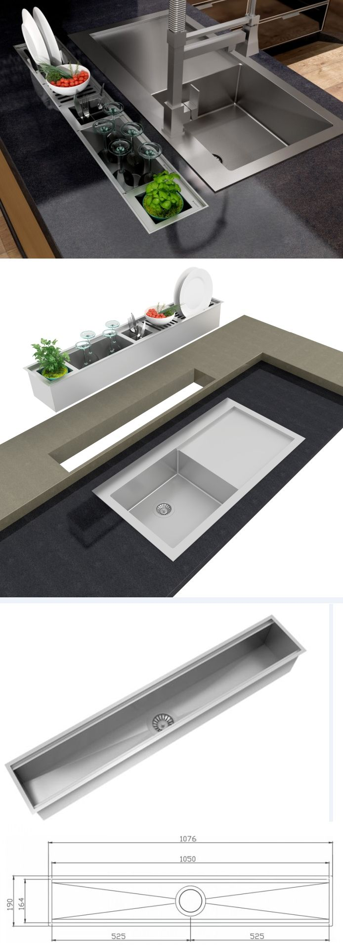 Kitchen Washing Area + Utensils Drying area concept