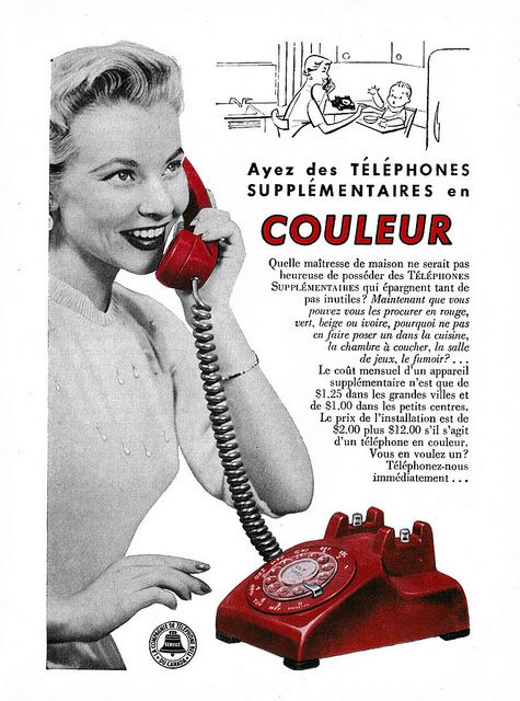 Vintage French ad for Bell Canada Telephones (1958). vintage 1950s phones homemaker