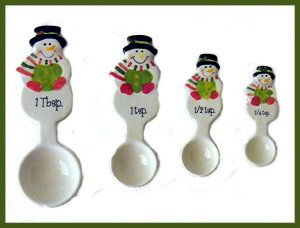 Christmas Holiday Ceramic Snowman Measuring Spoon Set of 4 Hand painted. Hand wash only. Set comes with 1 Tbsp, 1 tsp, 1/2 tsp, & 1/4 tsp sizes. http://theceramicchefknives.com/ceramic-measuring-spoons/ Christmas Holiday Ceramic Snowman Measuring Spoon Set of 4