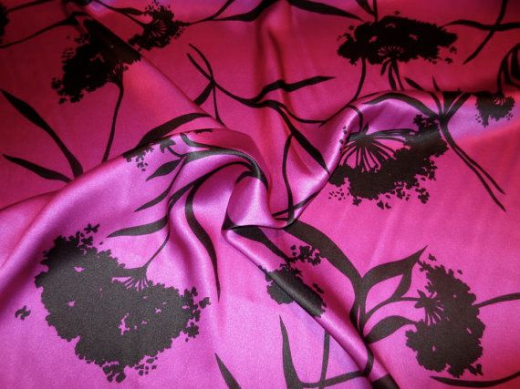 Black on Magenta Floral Print Pure Silk Charmeuse FabricBy