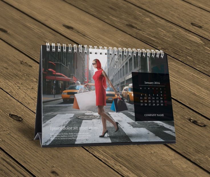 Table Calendar 2016 : Desk table calendar design template kb w b