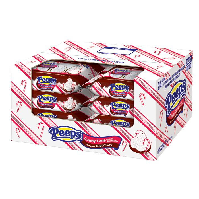 3 CT CANDY CANE FLAVORED MARSHMALLOW PEEPS® CHICKS DIPPED IN CHOCOLATE.  24 packs of 3/$36
