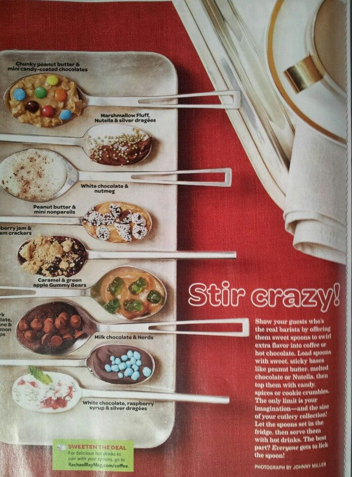 In the December Rachael Ray. Set out these spoons at hot chocolate bar.