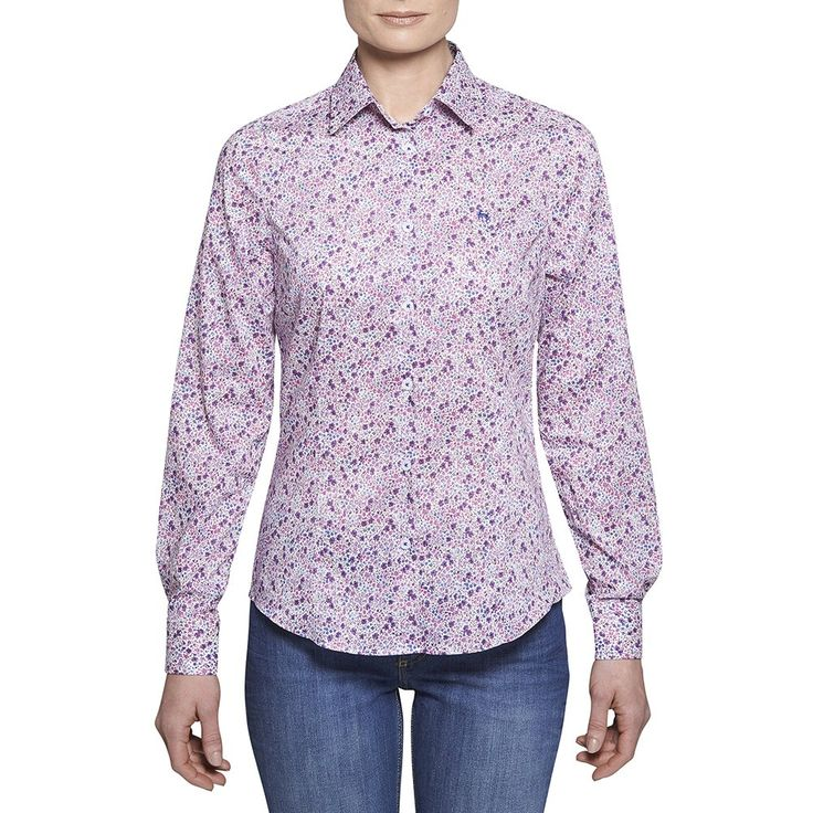 Purple Liberty Print Shirt This classic liberty print shirt is decorated with a very pretty floral pattern with a purple, violet and a hint of blue colorway. The style is tailored at the waist, but a classic fitting shirt and is the perfect garment for your Summer wardrobe. Features include button through placard and wolfhound embroidery on the chest.  #Style #Fashion #shirt #Magee #Magee1866 #mageeclothing #summerlook #floral #crispshirt #Purple #clothing #womenswear #liberty #print #summer