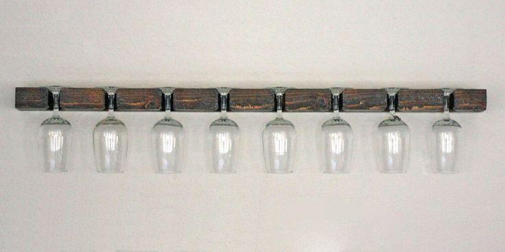 Wall Wine Glass Rack - 8 Glasses Holder Display by AdliteCreations on Etsy https://www.etsy.com/listing/246631955/wall-wine-glass-rack-8-glasses-holder