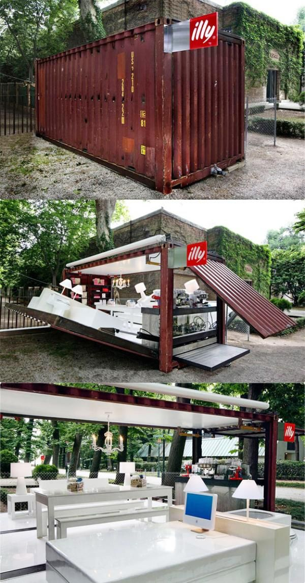 incredible Illy coffee shop design :: pop up cafe from a shipping container This illy Push Button house is made out of a shipping container. In 90 seconds it goes from container to operational cafe! Now that is cool. I have an idea......