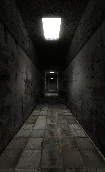 Dark hallways would make the player feel uneasy and scared to go on.