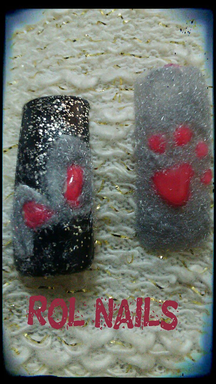 velvet nail art,3d nail art,grey nail
