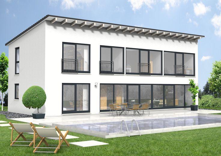 Pultdachhaus SI-Avantgarde 169  lichtdurchflutete klare Linien !Außenmaß: 14,99 m x 6,99m / Dachneigung: 8 Grad/Kniestock A :2,82 m/Kniestock B: 2,94m/ max. Firsthöhe: 6,65  Wohnfläche: 169,60 m²