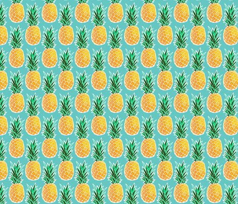 Tropical Pineapple - Turquoise Geometric Fruit fabric by digidivagraphics on Spoonflower - custom fabric