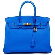 Hermes Handbag | Hermes Blue Hydra Togo Birkin 35cm ($18,600)  l