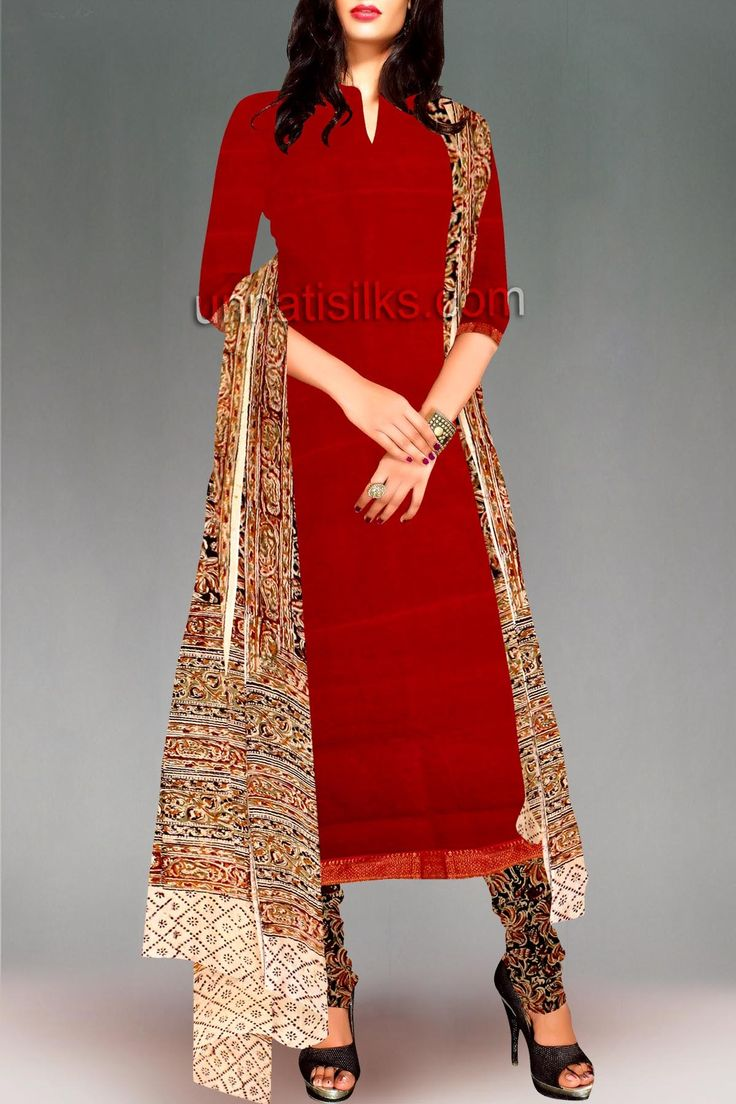 PR3722-Unstitched light red-black Mangalagiri cotton kalamkari salwar Kameez