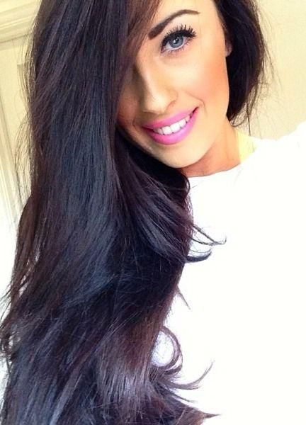Perfect dark brown hair with a hint of violet for the fall and winter. Love Love Love!