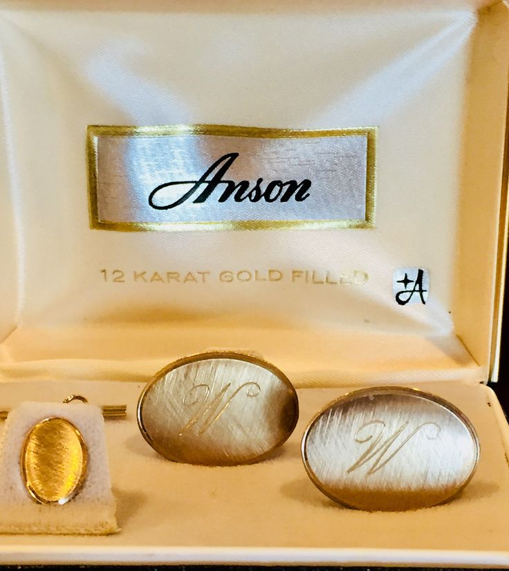 Vintage Anson 12 Karat Gold Filled Cufflinks Tie Pin Etsy Vintage Jewels Karat Cufflinks