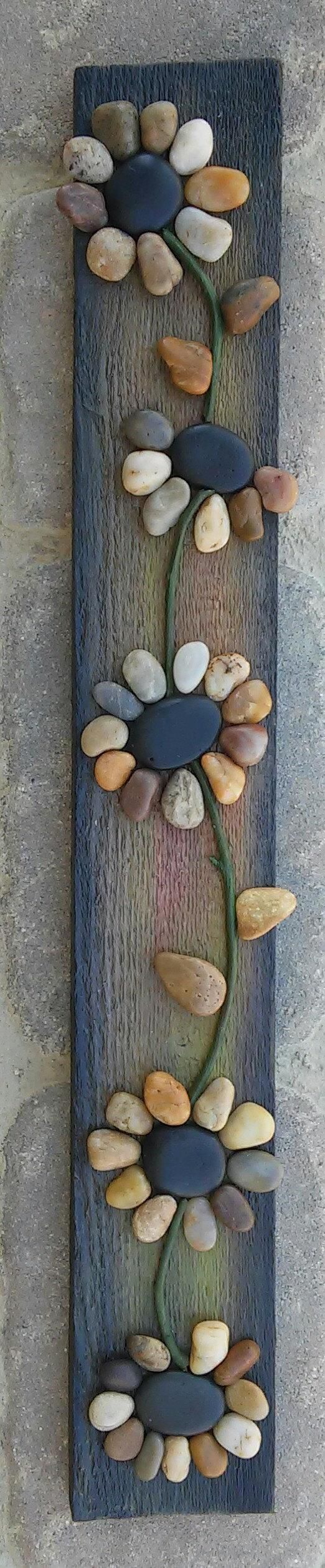 -Original pebble/rock art depicting a string of flowers (all natural  materials including reclaimed wood, ...