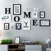 Dekorrahmen Fotorahmen Sets, Wohnzimmer Fotowand Mit Einer Uhr, Rahmen Wand Kreative Kombination Sofa Hintergrund Frames Set Von 9 ( Farbe : A , größe : 9frames/162*80CM )