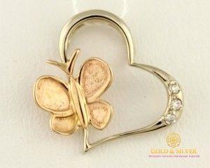 Золотой Кулон Бабочка Сердце Бриллиант 34250