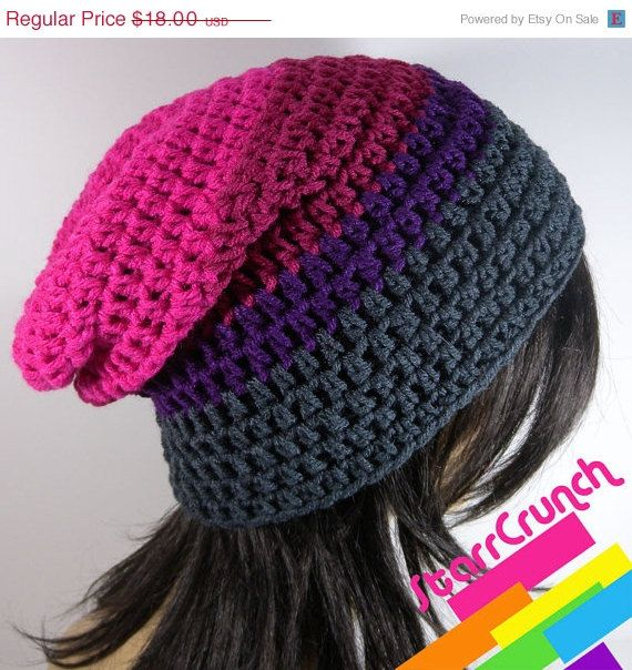 Holiday Sale 25% Off Slouchy Beanie Crochet Hat in by StarrCrunch
