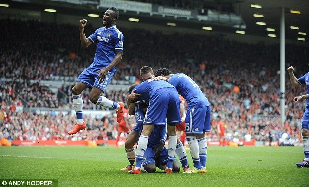 Delighted: John Obi Mikel celebrates in front of the Liverpool supporters after Demba Ba's... http://dailym.ai/1mN5GYO#i-a97f0e6d
