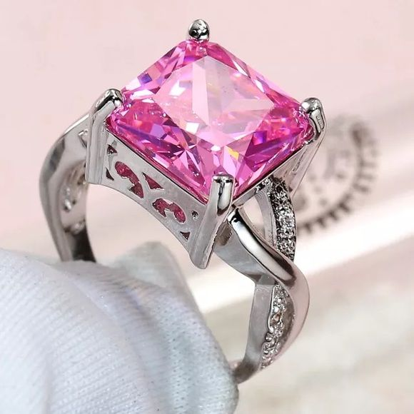 Pink & White Topaz White Gold Plated Ring Brand New, Never Worn. 5kt Square cut princess pink topaz gemstone White topaz encrusted band  White gold plated ring  Natural stone Size 7  No box included  -Color of stone may vary due to camera flash - Wrapped and shipped with care & tracking Fire & Ice Jewelry Rings