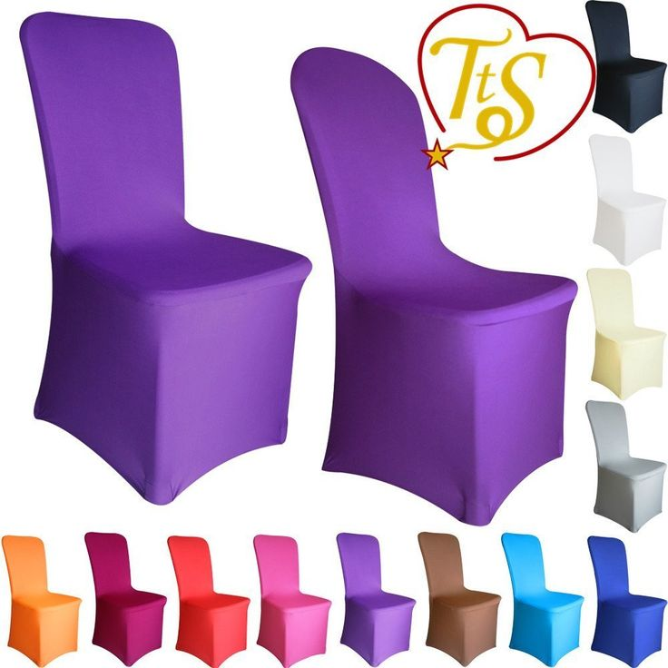 TtS Chair Covers Spandex Lycra Cover Wedding Banquet Anniversary Party Decoration Flat Front #09 Purple: Amazon.co.uk: Kitchen & Home