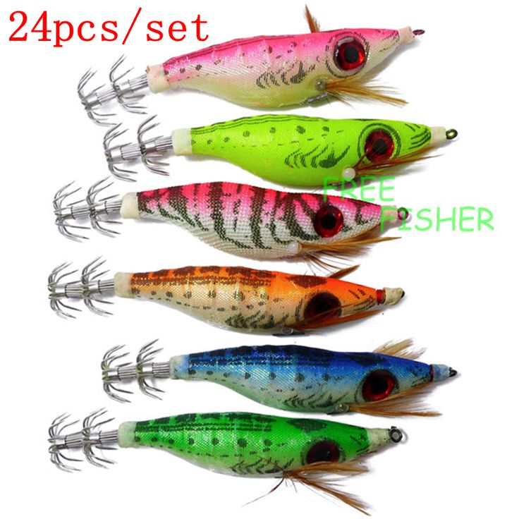 Free Fisher 24pcs Artificial Hard Fishing Lures Squid Fishing Cuttlefish  Bait Jigs jibioneras Fishing Tackle