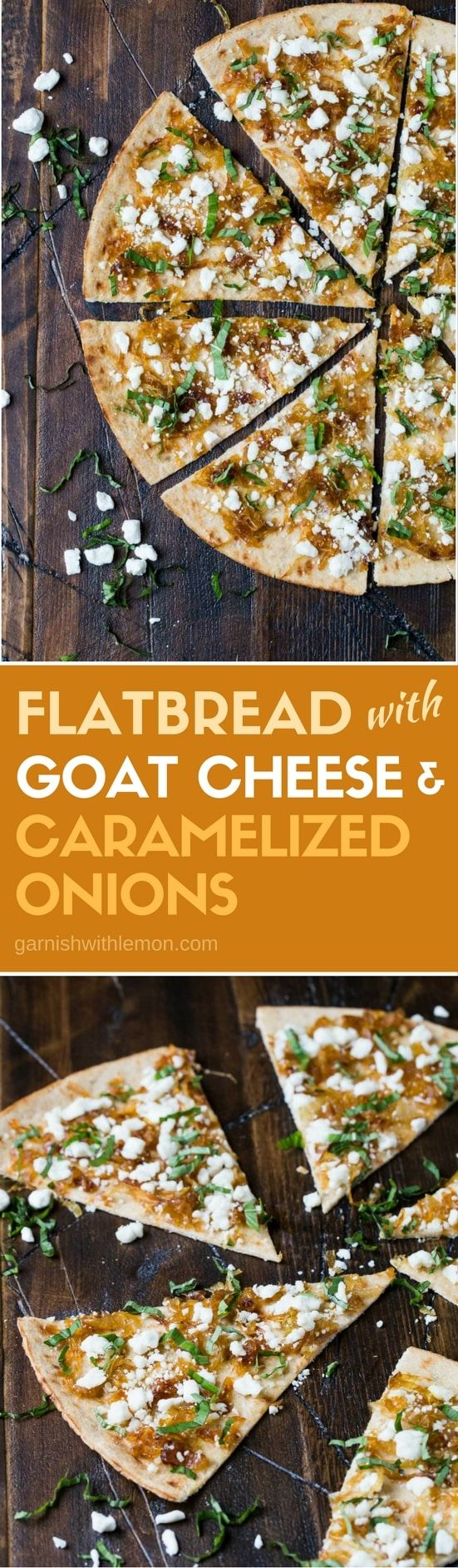 Did you know you can freeze caramelized onions? Make extra and freeze the rest so you can make this recipe for Flatbread with Goat Cheese and Caramelized Onions any time. Makes a great appetizer for parties!