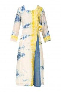 Blue, Yellow and White Tye and Dye Asymmetrical Kurta