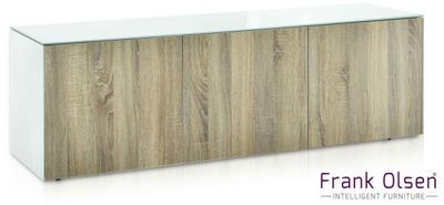 Frank Olsen INTEL1500WOK White and Oak TV Cabinet For TVs Up To 70 inch Assembled