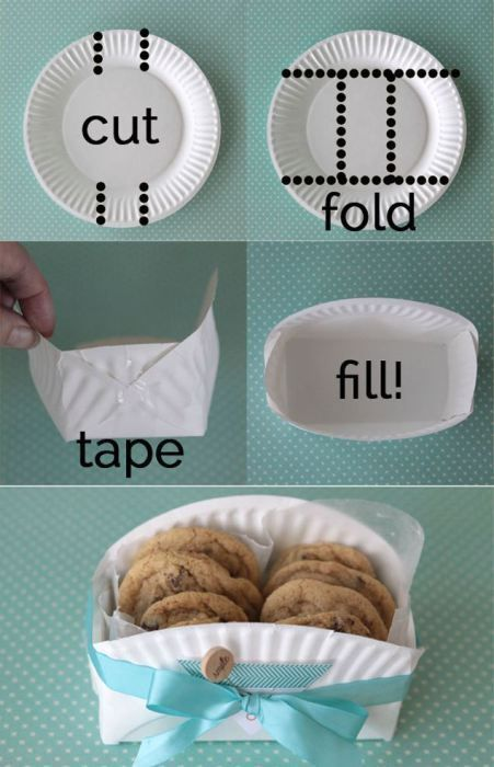 Create paper baskets for baked goods with extra paper plates—Would love to try this with colored plates or ones with patterns on them.